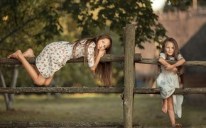 Picture summer, childhood, girls, village, sisters, the fence