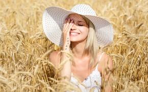 Picture field, girl, face, smile, mood, hand, hat, Victoria, ears, Elena Molchanova