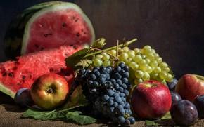 Picture berries, apples, watermelon, grapes, fruit, still life, plum