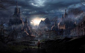 Picture mountains, castle, sword, knight, another world