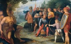 Picture oil, picture, 1613, Otto van Veen, Otto van Veen, После Взятия Ветеры Клавдий Цивилис Постригается..