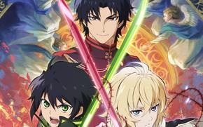 Picture trio, characters, Owari no Seraph, The last Seraphim, Yuichiro Hakua, Michaela Hakua, Guren