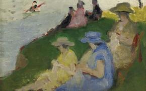 Picture picture, genre, Pierre Eugène Montesin, Pierre-Eugene Montezin, Young Women Knitting