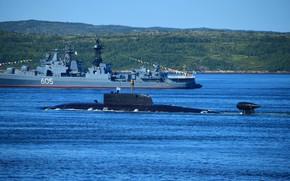 Picture boat, underwater, atomic, Pskov