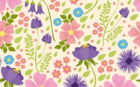 Picture flowers, texture, pink, flowers, pattern, purple, seamless