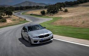 Picture asphalt, grey, speed, track, BMW, sedan, 4x4, 2018, four-door, M5, V8, F90, M5 Competition