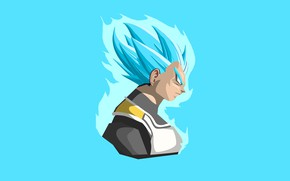 Picture minimalism, guy, blue background, Dragon Ball, Dragonball