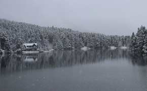Picture house, winter, lake, snow