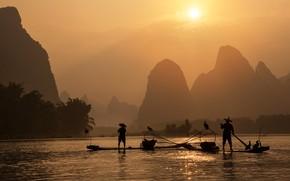 Picture sunset, mountains, boat, fisherman, China