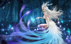 Picture water, trees, lights, magic, lights, fairy, trees, water, fairy, fantasy art, blonde hair, magic forest, …