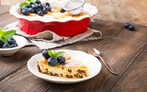 Picture berries, blueberries, pie, powdered sugar