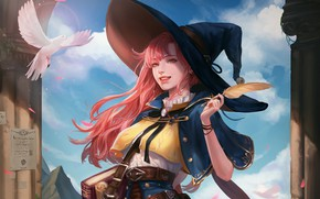 Picture Girl, Fantasy, Art, Style, Minimalism, Face, Hat, Feather, Dove, HaRim Shin, Apprentice wizard