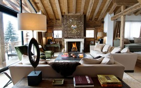 Picture style, interior, fireplace, living room, Luxury Chalet