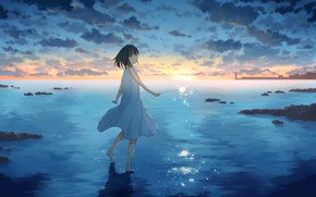 Picture sea, summer, girl, sunset, Sparkler