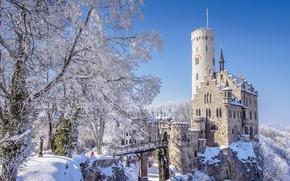 Picture winter, the sun, bridge, castle, Germany, Baden-Württemberg, Lichtenstein Castle, Hanau