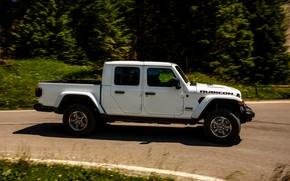 Picture white, movement, SUV, side, pickup, Gladiator, 4x4, Jeep, Rubicon, 2019