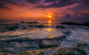 Picture Sunset, The sky, Water, Clouds, Sea, Stones, Shoal, Shine