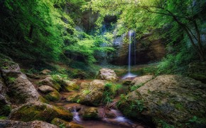 Picture forest, landscape, nature, rock, open, waterfall, beauty