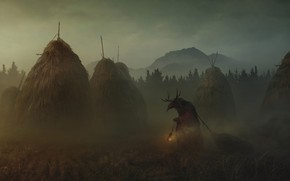 Picture Fog, Monster, The demon, Darkness, Monster, Darkness, Fiction, Horror, Fog, Demon, The barn, Yuri Hill, …