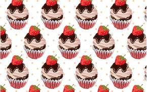 Picture background, texture, dessert, background, pattern, Strawberry, cupcake, cupcakes