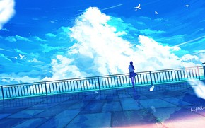 Picture the sky, girl, clouds, birds