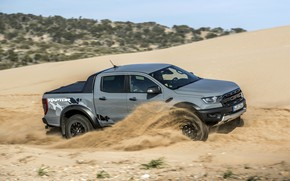 Picture sand, grey, movement, Ford, side view, Raptor, pickup, Ranger, 2019