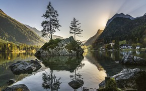 Picture trees, landscape, sunset, mountains, nature, lake, stones, home, Germany, Bayern, Alps, forest, Berchtesgaden, Berchtesgaden, Hintersee