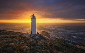 Picture sunset, lighthouse, Galicia, Laxe