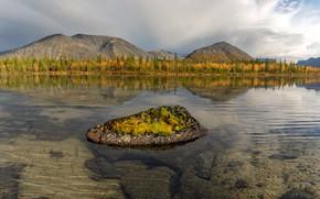 Picture autumn, trees, landscape, mountains, nature, lake, stones, the bottom, Khibiny, The Kola Peninsula, Vaschenkov Pavel
