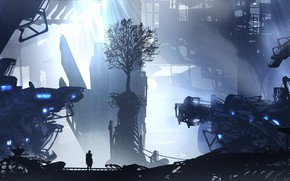 Picture city, art, figure, tree, man, artist, digital art, spaceships, artwork, futuristic, wreckage, TacoSauceNinja