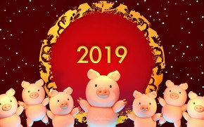 Picture holiday, art, New year, saver, pigs, Year Of the Pig, Tzuyu Kao