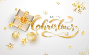 Picture white, snowflakes, background, gold, box, gift, Christmas