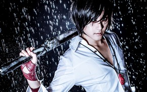 Picture weapons, rain, the game, guy, cosplay, Hero Warz