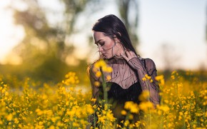 Picture field, girl, flowers, nature, pose, Andrea Carretta