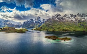 Picture mountains, Norway, panorama, Norway, the fjord, Lofoten, The Lofoten Islands, Lofoten, Остров Эуствогёй, Austvågøya