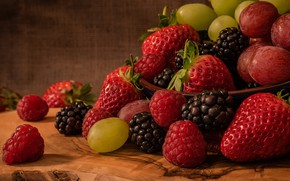 Picture summer, berries, food, harvest, strawberry, red, bowl, fruit, a lot, BlackBerry, composition, Victoria