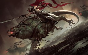Picture people, monster, sword, rider, Legends of Runeterra