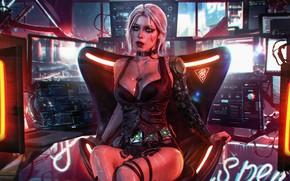 Picture Girl, The game, Art, Digital Art, Witcher, Fan Art, Character, Cyberpunk 2077, Swallow, CRIS, Witcher …