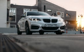 Picture city, bmw, road, sky, sunset, white bmw, car BMW