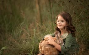 Picture basket, rabbit, girl