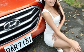 Picture auto, look, smile, Girls, Asian, Hyundai, beautiful girl, posing on the car