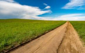 Picture road, sand, greens, field, summer, the sky, grass, clouds, the way, blue, dal, meadow, space, …