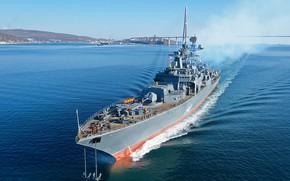 Picture frigate, test, modernization, running, Маршал Шапошников
