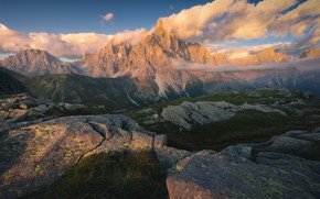 Picture clouds, mountains, fog, stones, the slopes, Alps, haze, The Dolomites