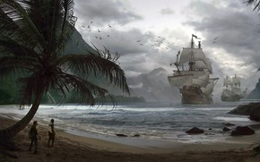 Picture ships, Bay, pirates, Pirates, Adrian Marc
