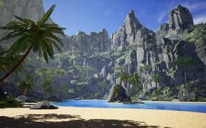 Picture palm trees, rocks, Laguna, island, Tropical island