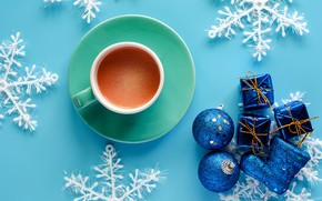 Picture winter, snowflakes, background, blue, New Year, Christmas, Cup, Christmas, blue, winter, background, cup, cocoa, snowflakes, …