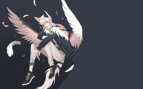 Picture style, background, angel, fantasy, guy, grey background, by hangahan23