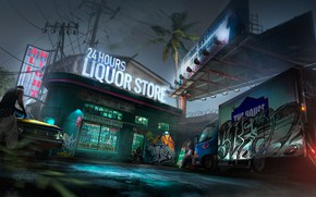 Picture Night, Art, Shop, District, Concept Art, Environments, 24 Hours, Liquor store, Ghetto, by Geoffrey Soudant, …