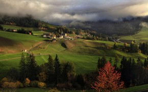 Picture autumn, clouds, trees, landscape, mountains, nature, home, village, Italy, forest, meadows, The Dolomites, Santa Maddalena, …